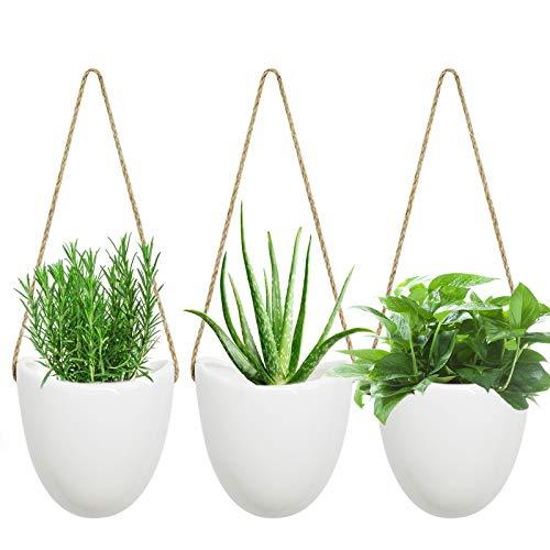 VICTARVOS Pots de Fleurs à Suspendre, Lot de 3 Pot Suspendu en céramique, pour Decoration Murale, Intérieur, Extérieur, Balcon, Jardin pour Plante Succulentes et Grimpantes