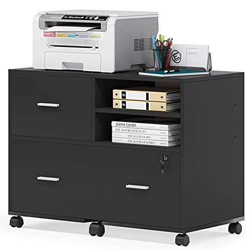 Tribesigns 3-Drawer File Cabinet, Mobile Lateral Filing File Cabinets with Lock and Wheels, Large Printer Stand Legal/Letter/A4 Size with Open Storage Shelves for Home Office