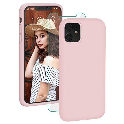 ProBien Hülle für iPhone 11, Flüssig Silikon Handyhülle mit Panzerglas Stoßfest Fallschutz Schutzhülle [Anti-Fingerabdruck] Kratzfest Case Cover für iPhone 11 (6.1 Zoll) - Pink