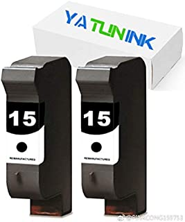 YATUNINK Remanufactured Ink Cartridge Replacement for HP 15 C6615D (2 Black, 2 Pack)