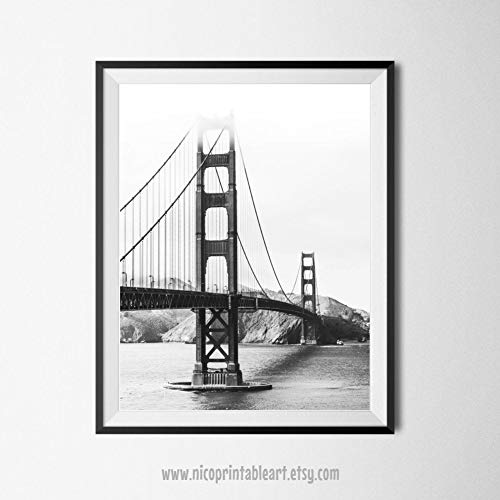 Golden Gate Bridge Druck Schwarz und Weiß Fotografie San Francisco Print Bridge Bedruckbar San Francisco Wandkunst minimalistischer Druck