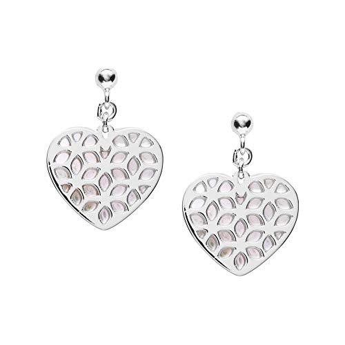 Fossil Ohrringe JFS00489040 Damen Ohrringe Herz Heart Cut Out Silber Weiß