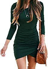 BTFBM Women Fashion Ruched Elegant Bodycon Long Sleeve Wrap Front Solid Color Casual Basic Fitted Short Dress (Dark Green, Medium)