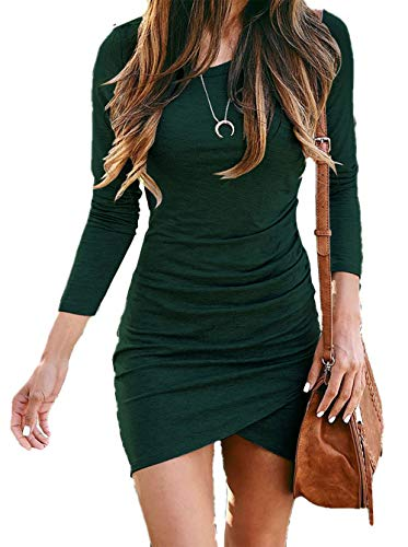 BTFBM Women Fashion Ruched Elegant Bodycon Long Sleeve Wrap Front Solid Color Casual Basic Fitted Short Dress (Dark Green, Small)