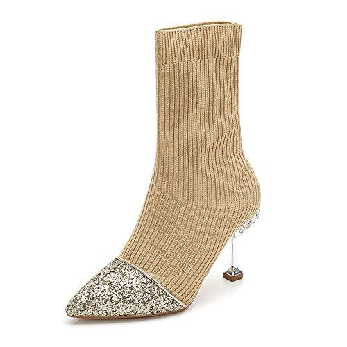 Ruixinshi Stricken Pailletten Booties Herbst und Winter Slim Stitching Enge Wolle Stiefel wies schlanke hohe Katze Ferse Socken Stiefel, Aprikose, 38
