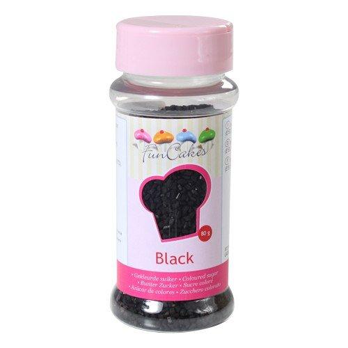 FunCakes Gefärbter Zucker Schwarz 80g, 0, 5