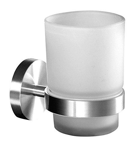 Ambrosya® | Exclusivo Titular de Cepillo de Dientes Hecho de Acero Inoxidable | Cuarto de baño Taza de baño Soporte de Vidrio Montaje Inodoro Pasta de Dientes (Acero Inoxidable (Cepillado))