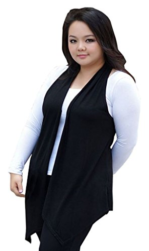 ColorFino Women's Open Front Plus-Size Long Vest Sleeveless Cardigan