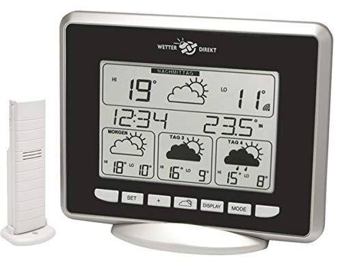 WetterDirekt Wetterstation WD 9530 mit Innen-/ Außentemperaturanzeige, Wettervorhersage für 4 Tage und Wetterfür über 320 Landkreise