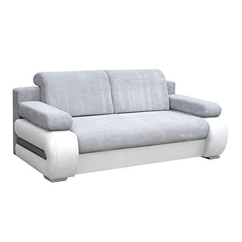 mb-moebel Couch mit Schlaffunktion Sofa Schlafsofa Wohnzimmercouch Bettsofa Ausziehbar - York (Hellgrau + Weiß)