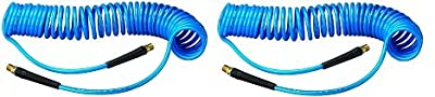 Amflo 24-25E-RET Blue 120 PSI Polyurethane Recoil Air Hose 1/4 x 25' with 1/4 MNPT Swivel Ends and Bend Restrictor Fittings