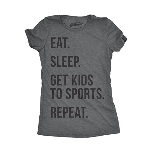 Crazy Dog T-Shirts Womens Eat Sleep Get Kids to Sports Repeat T Shirt Funny Gift for Mom Sarcastic (Dark Heather Grey) - M