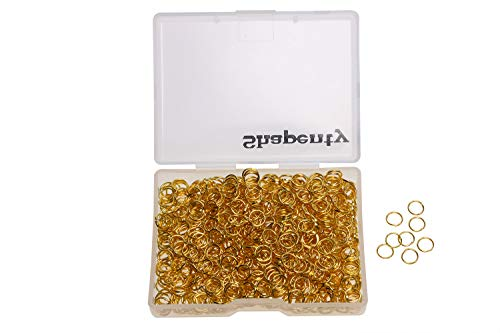 Shapenty 1000PCS Gold Plated Iron Open Jump Rings Connectors Bulk for DIY Craft Earring Necklace Bracelet Pendant Choker Jewelry Making Findings and Key Ring Chain Accessories (Gold, 6mm)
