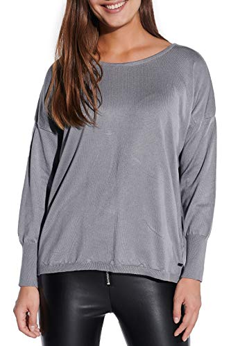 Vestino Damen Pullover Longpullover Feinstrick Rundhals Kastenform Oversized NEU
