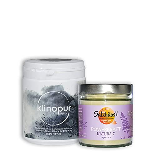 KLINOPUR Zeolith Pulver 250 g Premiumqualität, zertifiziertes Medizinprodukt, Klinoptilolith Detox Pulver + GRATIS Powerkraft Natura SPEZIAL Power Proteine vegan (Sie sparen 21,85 €)