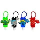 4Pcs Cartoon Kids Empty Travel Bottles Hand Sanitizer Holder with Silicone Case Keychain Carrier, Choeeu Leak Proof Refillable Portable Travel Containers for Liquid Soap, Lotion (Dinosaur)