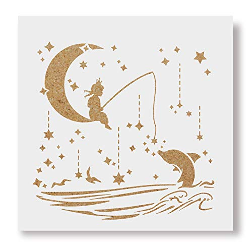 BENECREAT 12x12 Inches Cresent Moon Star Painting Template Stencil Ocean Fish Stencil for Art Painting Scrabooking Cardmaking and Chrismas DIY Wall Decoration