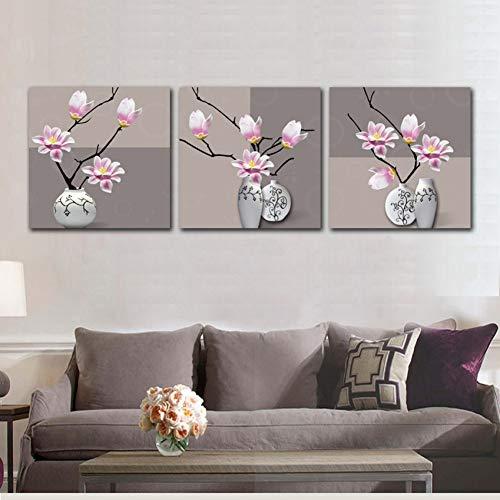 GHTAWXJ Pintura de 3 Paneles Cuadro en Lienzo Cuadro Magnolia Florero Decoración del hogar Pintura sobre Lienzo Cartel de Magnolia Arte de la Pared