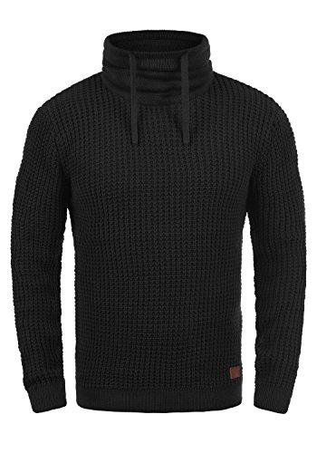 Blend Wanko Herren Winter Pullover Strickpullover Grobstrick Pullover mit Tubekragen, Größe:L, Farbe:Black (70155)