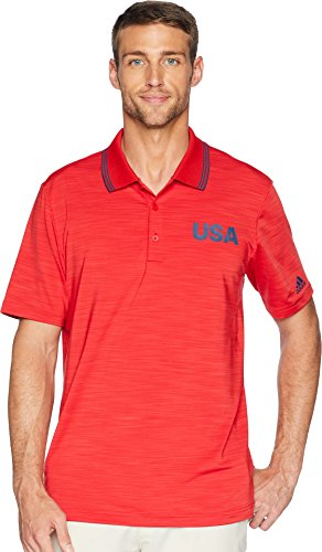 adidas Golf Hombre Ultimate 365 con Textura de Rayas Estados Unidos Edition Polo, Color TMAG Scarlet Heather, tamaño Large