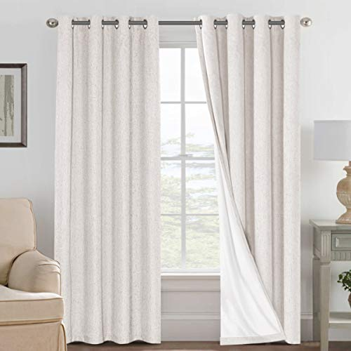 H.VERSAILTEX Linen Blackout Curtains 84 Inches Long 100% Absolutely Blackout Thermal Insulated Textured Linen Look Curtain Draperies Anti-Rust Grommet, Energy Saving with White Liner, 2 Panels, Ivory
