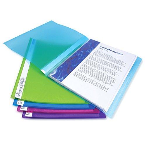 Rapesco 0915 Chemise de Présentation Flexi A4 - 10 Pochettes 20 vues - Couleurs Vives Transparentes - Lot de 10