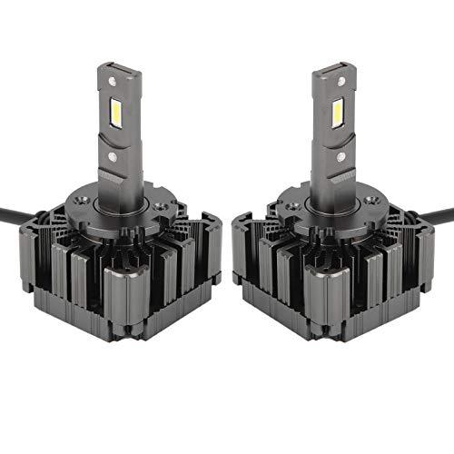 2 bombillas LED para faros delanteros D1 / D3 6000 K 35 W Ventilador de refrigeración incorporado con carcasa de aluminio Bombillas para faros delanteros Reemplazo halógeno de haz alto/bajo, instala