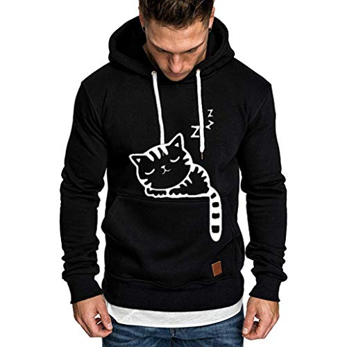 IFOUNDYOU Kapuzenpullover Männer Herren Langarm Hoodies Sweatshirt Volltonfarbe Langarm Herbst Winter Casual Frühling Top Bluse Trainingsanzüge Jacke Sweatjacke Sweater