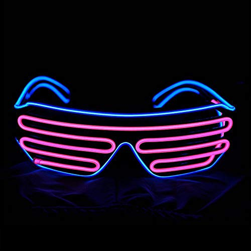 AMJFB Encienda el EL Gafas Neon con Obturador de neón Que parpadean LED Rave Gafas de Sol para 80, EDM, Decoraciones para Fiestas,A