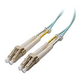 Cable Matters 10Gb 40Gb Multimode OM3 Duplex 50/125 OFNP Fiber Patch Cable LC to LC 1 MULTIMODE FIBER DUPLEX OM3 50/125 micron fiber cables with dual small form factor LC connectors are designed for 10 Gigabit applications in SAN networks and data centers; OM3 LOMMF (laser optimized multi-mode fiber) rated; Connects to VCSEL laser network equipment such as SFP+ transceivers, Ethernet switches, media converters, industrial Ethernet devices, and optical fiber NIC's FLEXIBLE INSTALLATION AND MAINTENANCE fiber cord with adjustable, clips and removable dust caps to protect the fibers during installation while allowing individual fiber access; Embossed A/B position labels on the duplex clip and jacket tag rings labeled 1 & 2 provide quick ID when installing and troubleshooting; Tight-buffered cable with a duplex 2.0 x 4.2mm Zipcord design; LC connectors in a protective yoke with slim-profile boots, PC polish, and zirconia ceramic ferrules for precise alignment BEND INSENSITIVE DESIGN of the LC to LC cable allows for a 7.5mm bending radius that is 4X more flexible than standard 50 micron fiber cables without introducing any macro-bending loss; Ideal for SAN network cabinets that require 20 or more bends in the cabinet or high density installations with cables crammed into an extremely small footprint; Bend insensitive multimode fiber (BIMMF) is interoperable with standard OM3 cabling systems