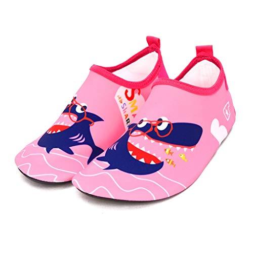GDSSX - Zapatos flotantes para niños de secado rápido para bebés y playa antideslizante zapatos de natación anticorte de suela gruesa, zapatos secos para niños, caucho, Gafas Rosa Tiburón, 30-31