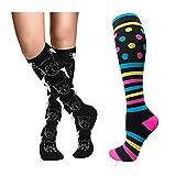 Cheeroyal 2 pares de calcetines de compresión 20-30mmHg para hombres mujeres recuperació...