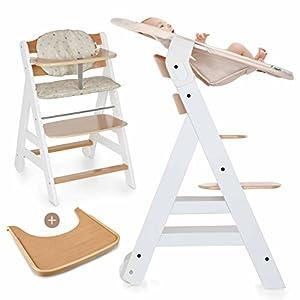 Hauck Beta Plus Newborn Set - Trona evolutiva con hamaca para recién nacidos, cojín y bandeja - Trona bebe convertible- Silla Trona Madera haya - Blanco/Nature