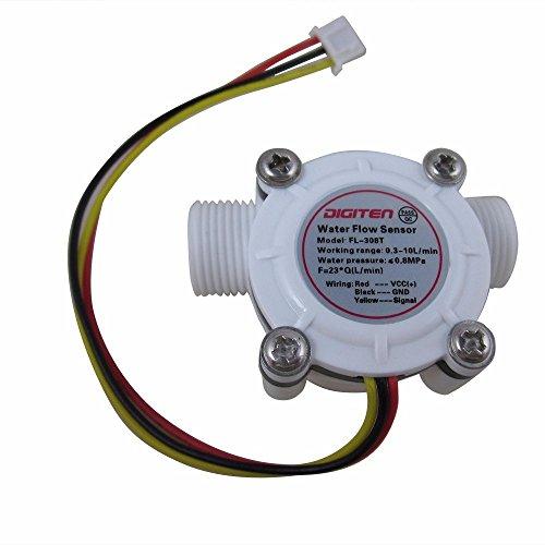 DIGITEN G3/8 Water Flow Sensor Witch, Hall Effect Flowmeter Liquid Fluid Meter Sensor Switch Flowmeter Meter 0.3-10L/min