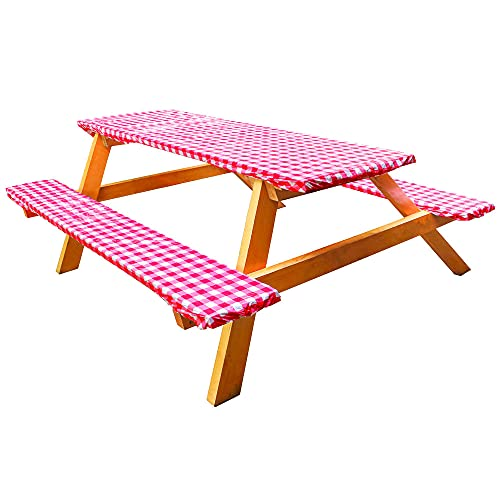 Vinyl Picnic Tablecloths and Bench Covers, Waterproof Picnic Table and Bench Seat Covers with Elastic Edges for Outdoor Patio Park, Red Checkered Flannel Backed Lining, 28 x 72 Inch 3 Piece Set