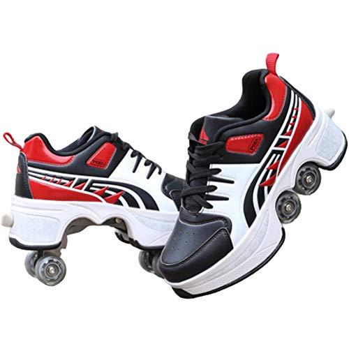 Patín En Línea, Roller Skate Zapatos para Hombres De Las Mujeres, 4 Ruedas Ajustables 2-En-1 Multi-Purpose Zapatos,Red Black,37