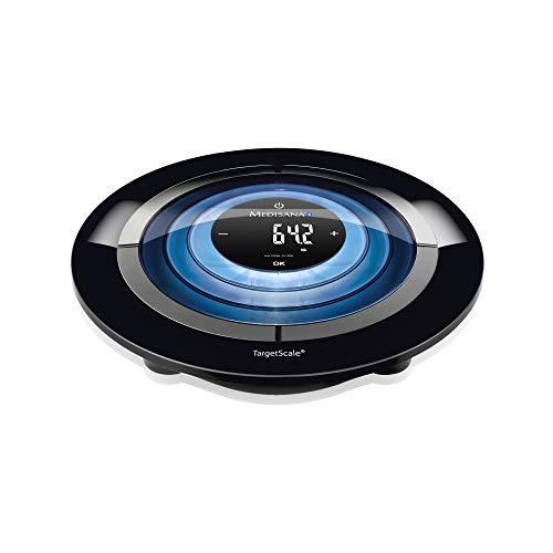 Medisana Targetscale 3 Pèse-Personne Avec Analyse Corporelle, Jusqu'à 180 Kg - Éclairage Led - Électronique Digital Balance Masse Graisseuse Et Muscle, Eau Et Imc Pour Ios Android Bluetooth - 40413