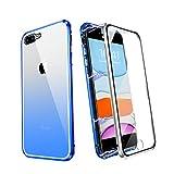 ZHIKE Funda para iPhone 7 Plus/8 Plus, Marco de Metal Magnético Frente y Parte Posterior Vidrio Templado Cobertura Pantalla Completa de una Pieza Color Degradado Diseño Antideslizante (Azul-Plata)