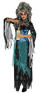 Disfraz de bruja espeluznante para mujer, con vestido y banda para la cintura. Un terrible disfraz de carnaval para asustar y atar, no solo para Halloween. El disfraz de mujer se puede llevar como disfraz de bruja o adivinadora. El disfraz de bruja e...