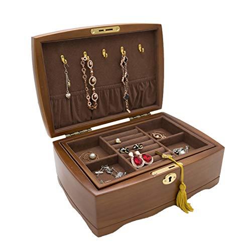 Caja Organizador Joyería Estuche de Almacenamiento Jewelry Box Organizer para Mujeres Chicas, Caja de almacenamiento de la joyería con llave de doble capa apilable con divisor extraíble para Joyas Ani