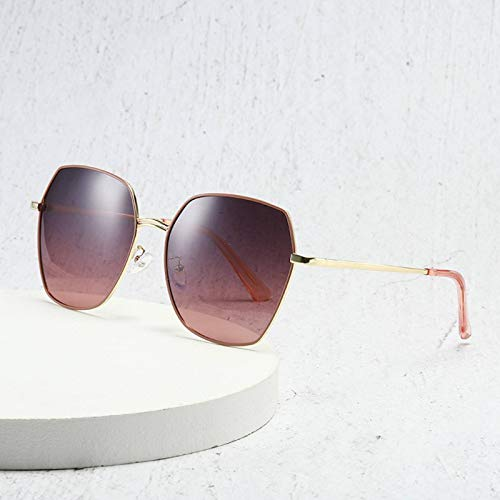 N-B Korean Version of Polygonal Polarizer Women Round Face Big Frame Metal Sunglasses Classic Curved Sunglasses