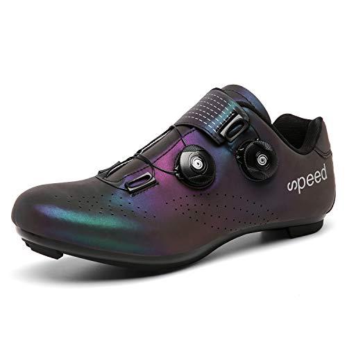 YMMONLIA Scarpe da Bici da Corsa Scarpe da Ciclismo da Corsa da Uomo Scarpe da Corsa su Antiscivolo con Strisce Riflettenti per Ountain Bike da Strada (Dazzle Light)