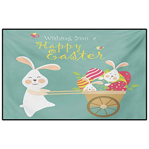 Easter Soft Indoor Large Modern Area Rugs Smiling Bunny with a Cart Full of Colorful Eggs and Baby Rabbits Spring Holiday for Bedroom, Living Room, and Kitchen Multicolor 5.3 x 6.6 Ft