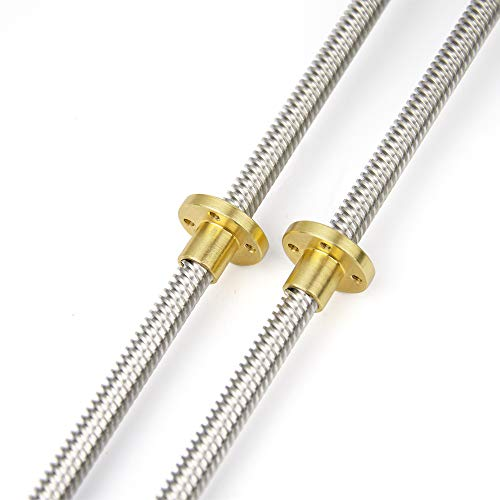 HAWKUNG 2pcs 350mm 8mm T8 Stainless Steel Threaded Rod Lead Screw with T8 Nut for 3D Printer Machine Z Axis