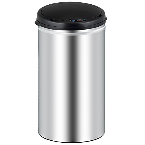 Deuba Sensor Mülleimer 56L Abfalleimer mit LED Funktionsanzeige Automatik Müllbehälter Abfallbehälter Edelstahl Papierkorb mit Bewegungssensor und Deckel Silber