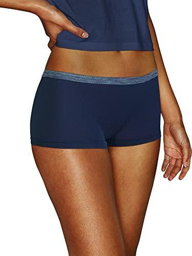Hanes Women's Comfort Flex Fit Seamless Boyshort Underwear, 6-Pack, Assorted, Large