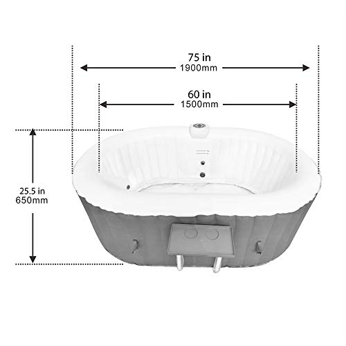 ALEKO HTIO2BRWH Oval Inflatable Hot Tub Spa with Drink Tray and Cover, 2 Person Portable Hot Tub - 145 Gallon Brown and White