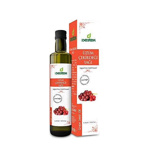 Aceite de pepitas de uva 250 ml | Vitis Vinifera | Aceite de uva | Prensado en frío | 100% puro y natural | Contiene vitamina E densa | Aceite de pepitas de uva para un cuidado intensivo