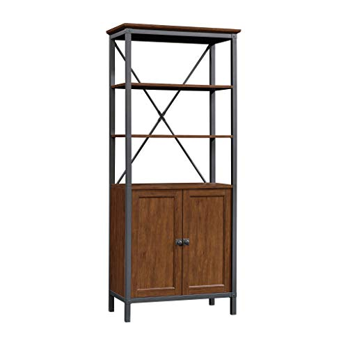 Sauder Carson Forge Bookcase with Doors, Milled Cherry Finish