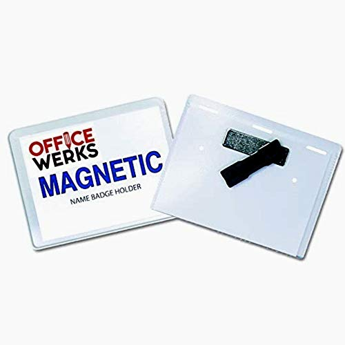 Magnetic Name Badge Holder Kit, 4' x3', 50 Pack, Clear Top For: IDs, Conventions, Exhibitors, and Events